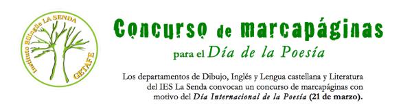 Cabecera de las bases del concurso de marcapáginas IES La Senda
