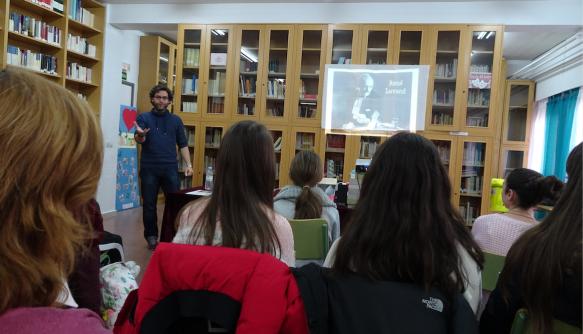 Miguel Ángel González en la Biblioteca del IES la Senda el 29 de enero de 2019